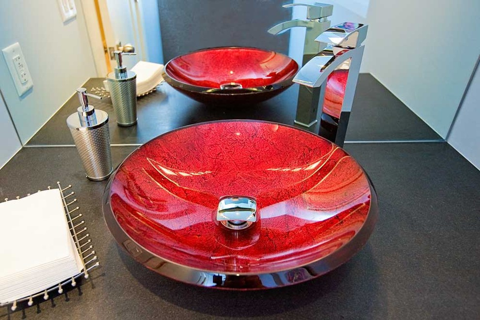 Napkin Holders Spaces Modern with Glass Glass Sink Lavatory Mirror Red Red Sink Red Vessel Sink Sink