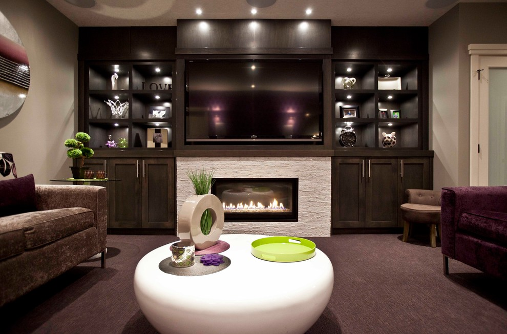 Napoleon Fireplace Inserts Basement Transitional with Basement Cabinetry Calgary Contemporary Custom Dark Carpet Dark Sofa Dark Wood Fireplace