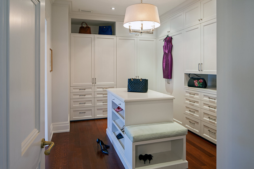 Narrow Dresser Closet Traditional with Built in Bench Ceiling Light Dark Wood Floor Gray Wall Master Closet Oversized