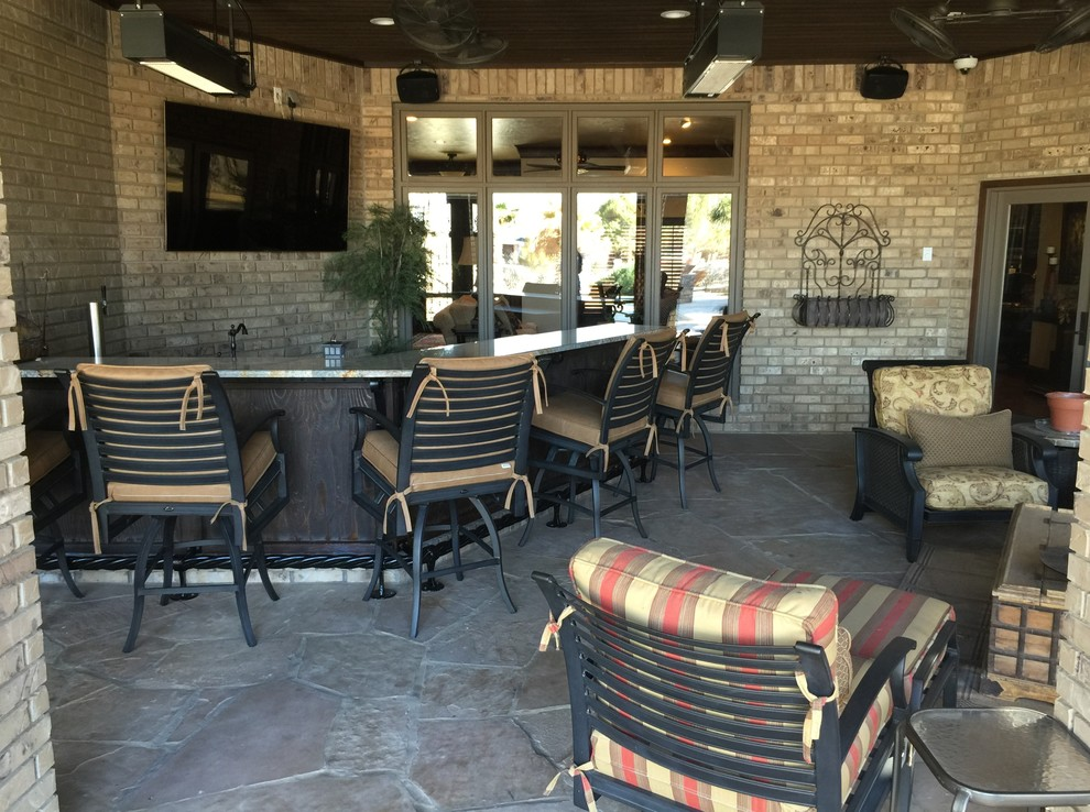 Natural Gas Patio Heater Mediterranean With Ceiling Heaters Enclosed Flagstone Granite Bar Top Iron