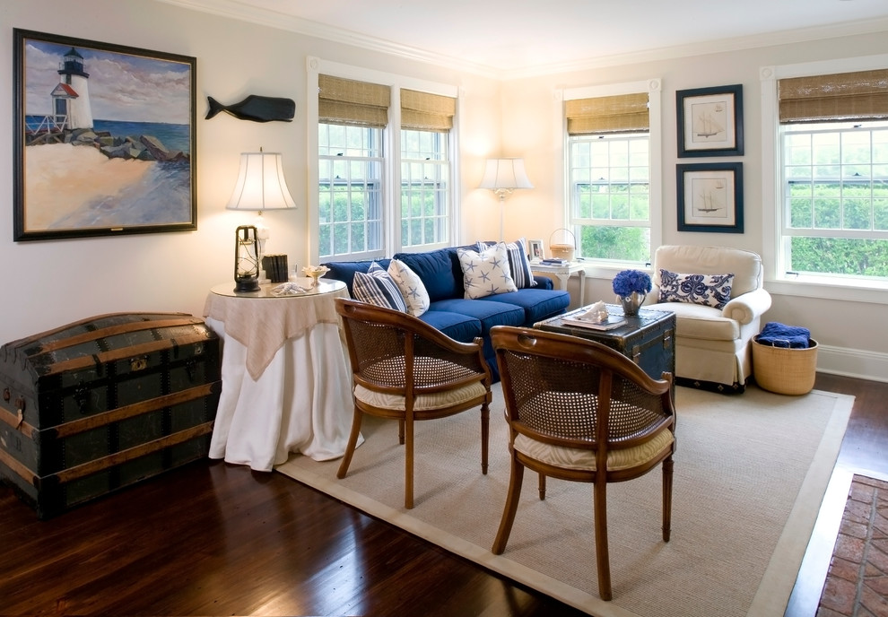 Nautica Bedding Living Room Traditional with Area Rug Arm Chair Blue Chest Dark Stained Wood Double Hung Windows