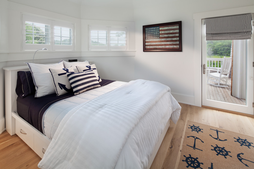 Nautical Bedding Bedroom Beach with Beach Home Framed Flag Glass Door Striped Window Shade Under Bed Drawers
