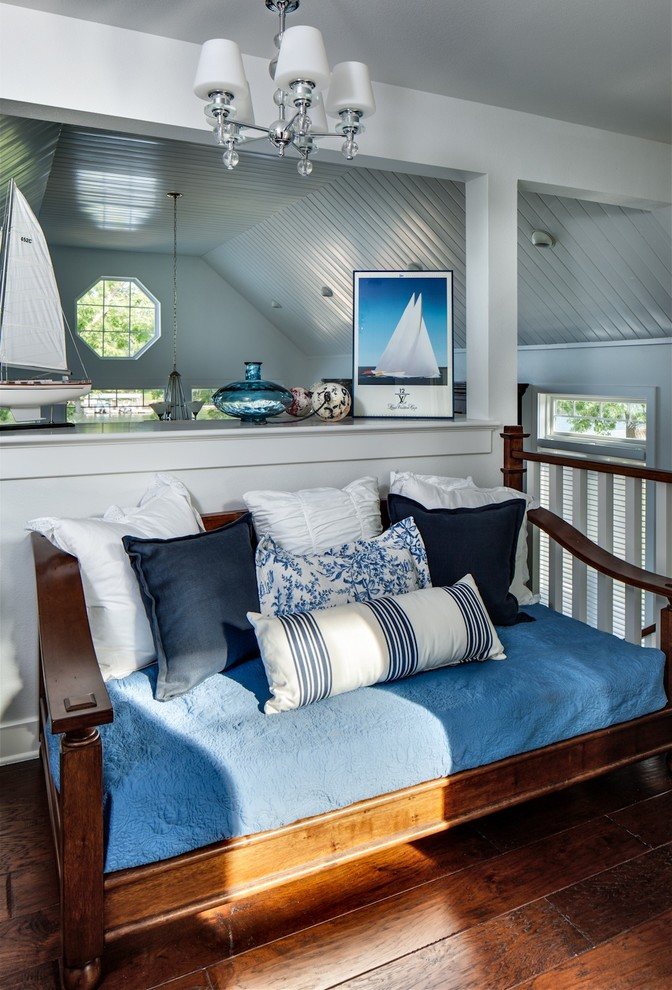 Nautical Bedding Bedroom Beach with Blue Dark Stained Wood Floor Daybed Denim High Gloss White Paint Matelass