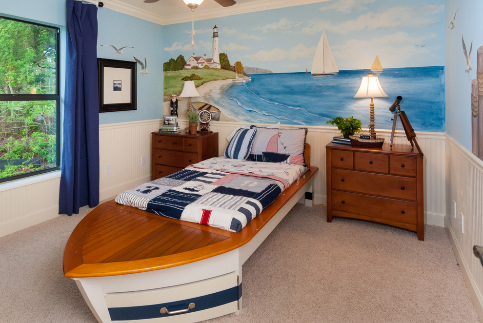Nautical Bedding Bedroom Traditional with Baseboard Beadboard Boat Bed Crown Molding Dark Blue Drapes Dark Blue Window