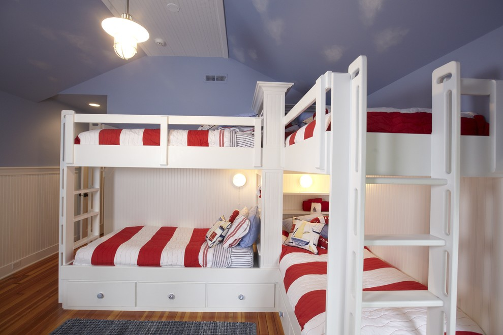 nautical bedding Kids Traditional with beadboard Bedroom blue blue wall built in bunk beds ceiling clouds cool