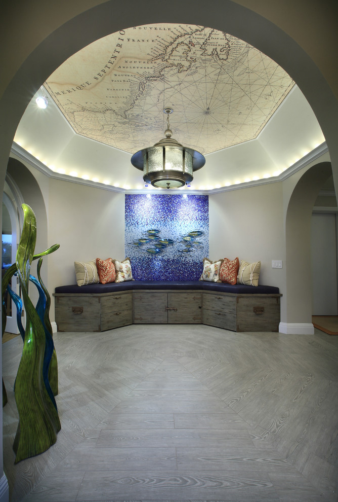 Nautical Chandelier Hall Contemporary with Arched Ceiling Built in Ceiling Crown Mold Floor Foyer Glass Mosaic Nautical