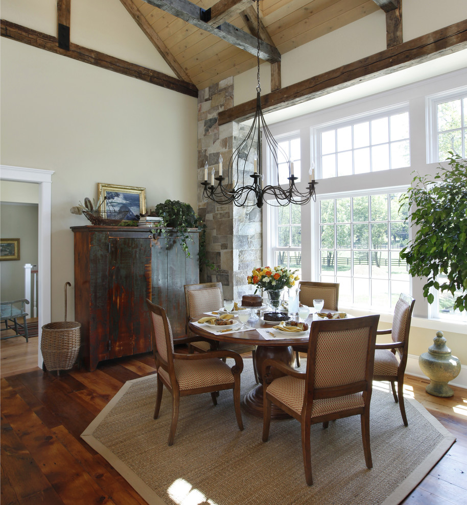 nautical chandelier Kitchen Traditional with area rug cream walls dining table set distressed wood armoire eat in
