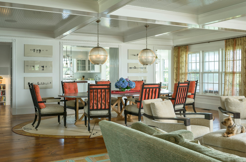Nautical Rugs Dining Room Victorian with Coffered Ceiling Great Room Nantucket Orange Cushions Oval Area Rug Pendant Lights