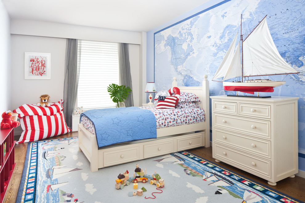 nautical rugs Kids Contemporary with area rug bean bag chair Bedroom blue wall boys room bright kids