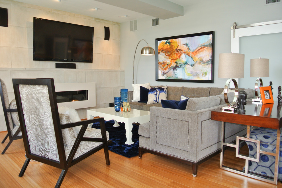 navy blue area rug Living Room Contemporary with beige tile wall blue accents ceiling beam colorful large art Framed Artwork