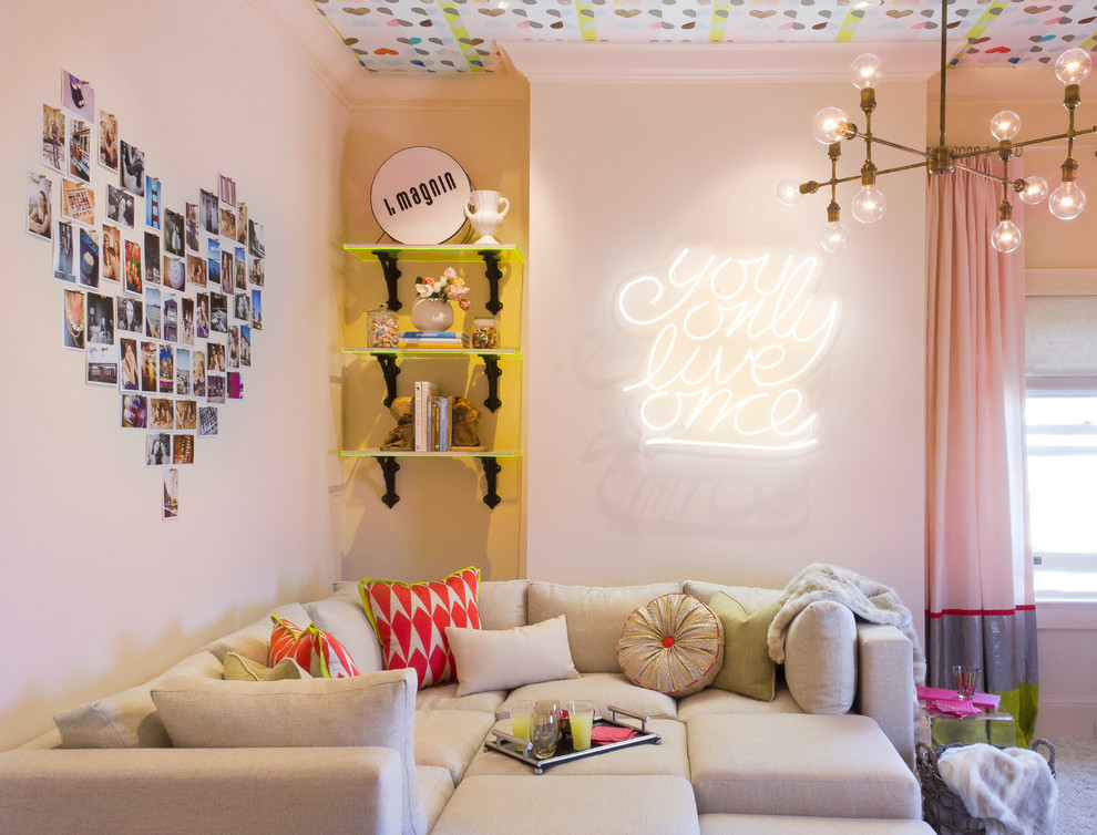 Neon Signs for Sale Family Room Modern with Bar Cart Brass Chandelier Bright Featured in San Franciscos Decorator Sh Fun