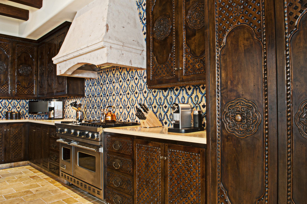 Nespresso Aeroccino Plus Kitchen Mediterranean with Backsplash Ceiling Beams Ceramic Custom Handmade Kitchen Mediterranean Moroccan Mosaic Ornate Cabinets