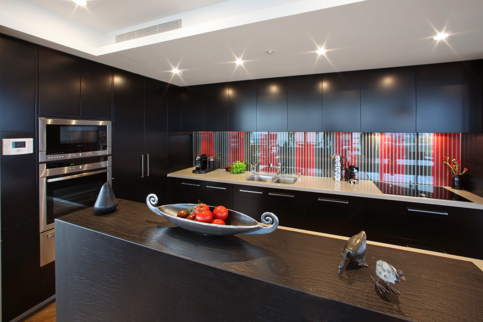 Nespresso Frother Kitchen Modern with Dark Wood Island Minimal Modern Hardware Recessed Lighting Red Sculpture Slats Soffit