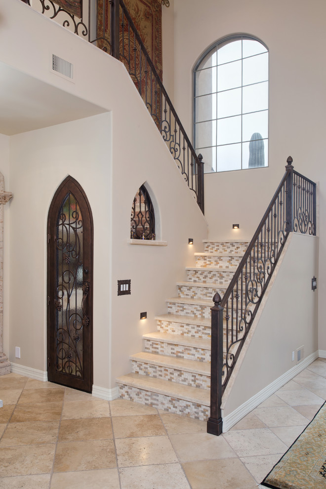 Non Slip Stair Treads Staircase Mediterranean with Chilled Wine Cellar Iron Door Led Lights Mosaic Tile Stair Treads Travertine