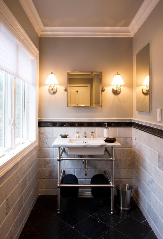 Norwell Lighting Bathroom Traditional with Black Floor Chrome Console Crown Molding Gray Walls Marble Counter Marble Tile