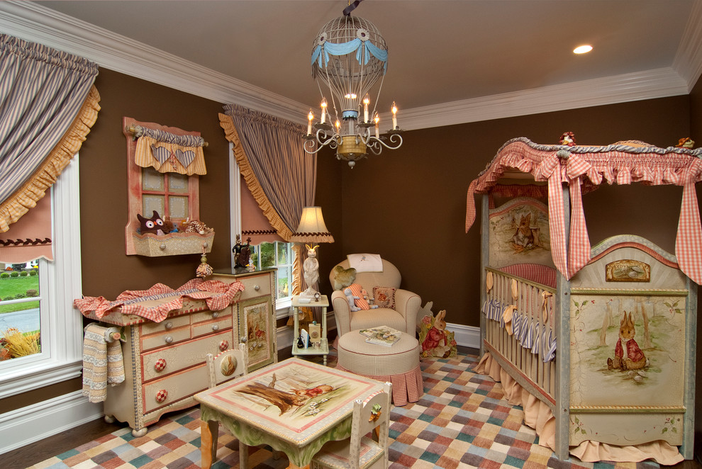Nursery Chandelier Nursery Traditional with Baseboard Beatrix Potter Blue and White Stripe Bows Boy Brown Walls Bunnies