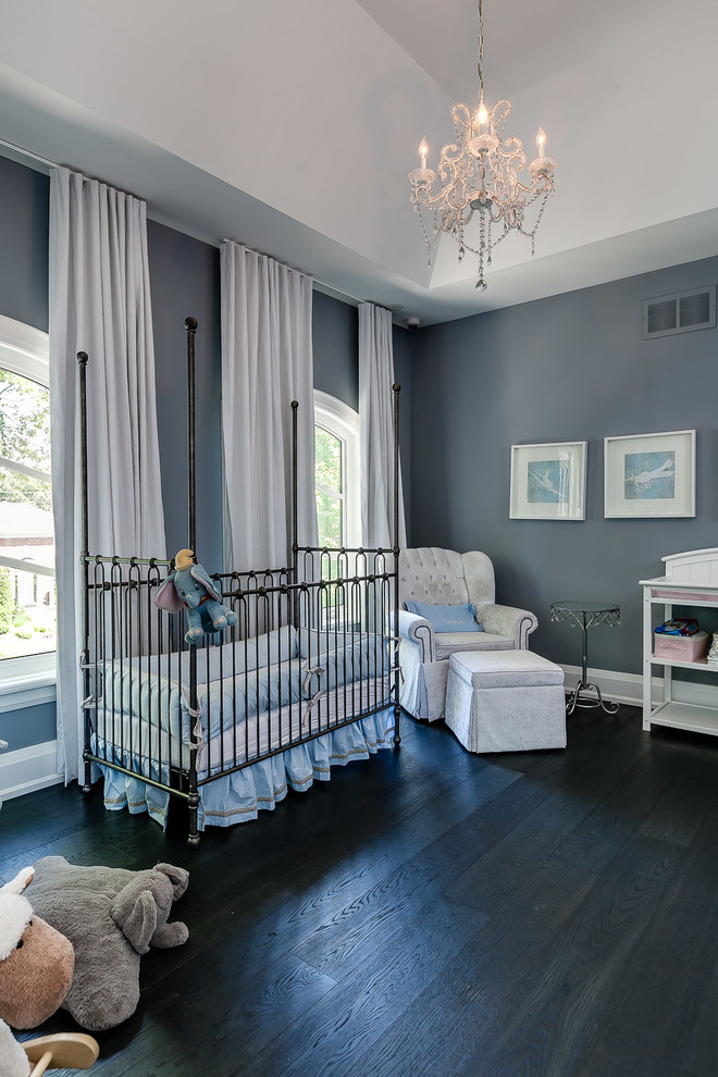 Nursery Chandelier Nursery Transitional with Chandelier Four Poster Crib Tray Ceiling White Curtains