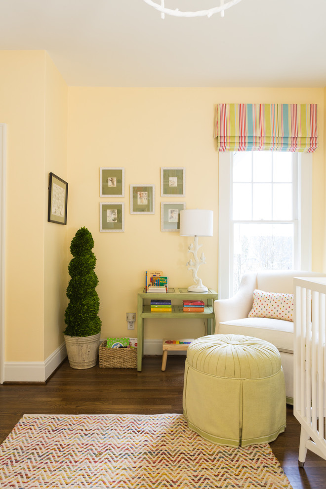 Nursery Glider Nursery Transitional with Bird Lamp Boxwood Bright Colors Chevron Rug Crib Faux Boxwood Topiary Flatweave