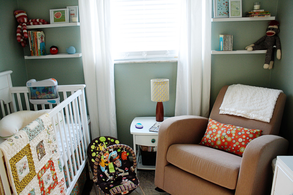 Nursery Rocking Chair Nursery Contemporary with Baby Quilt Built in Crib Curtains Decorative Pillow Drapes End Table Green1