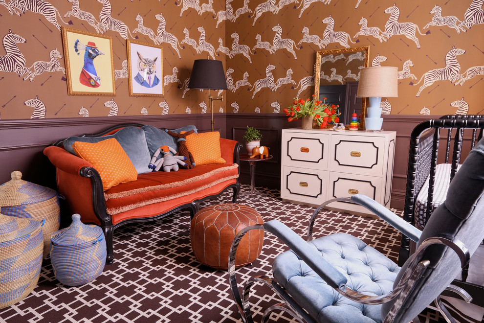 Nursery Rocking Chair Nursery Eclectic with Antique Furniture Boys Room Brown Trim Childrens Bedroom Crib Jenny Lind Crib