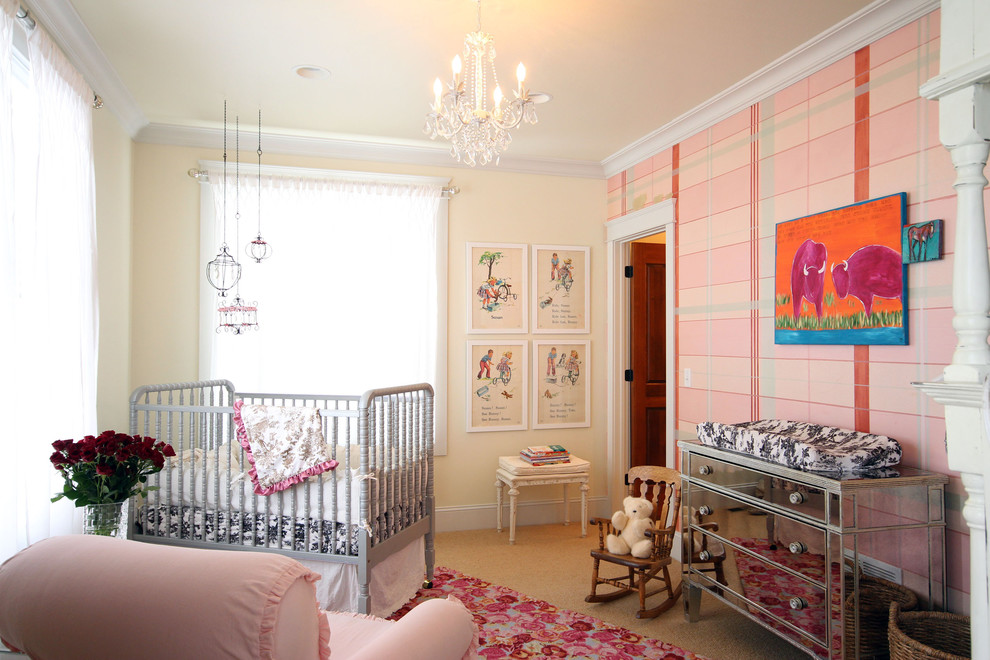 Nursery Rocking Chair Nursery Eclectic with Area Rug Baby Girls Room Chandelier Crib Framed Art Little Girls Room