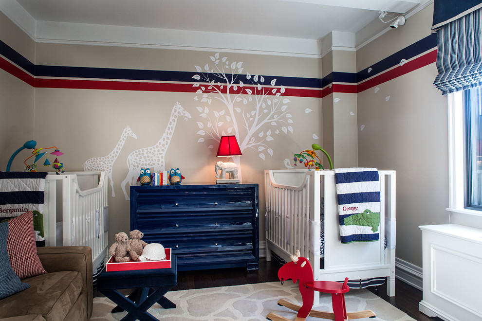 Nursery Rocking Chair Nursery Transitional with Area Rug Beige Wall Blue and Red Crib Dark Wood Floors Double1