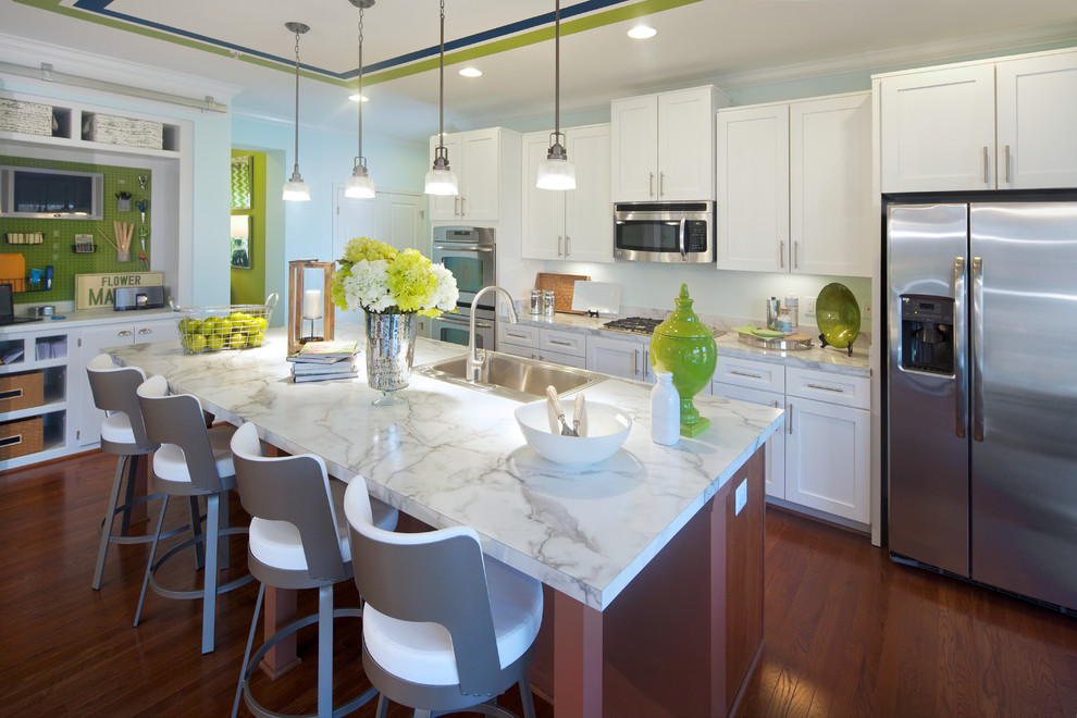 nuvo lighting Kitchen Contemporary with counter stools dark stained wood floor kitchen island lime green peg board
