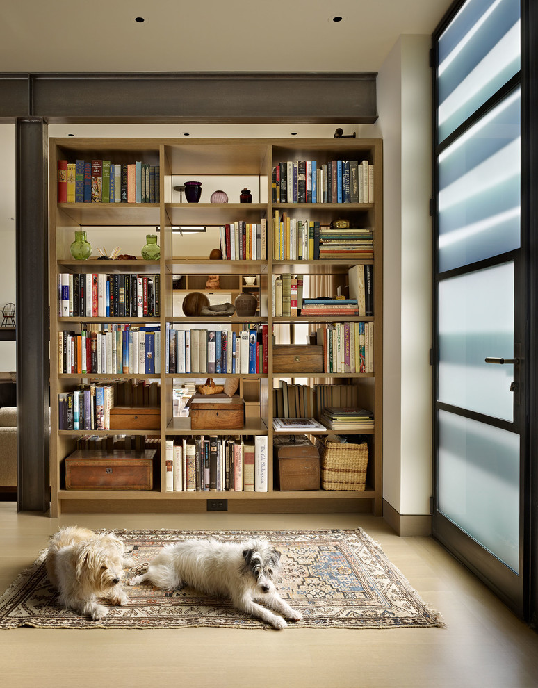 Oak Bookcase Entry Contemporary with Bookcase Wall Built in Bookcase Contemporary Remodel Dark Baseboard Dogs Frosted Glass Entry