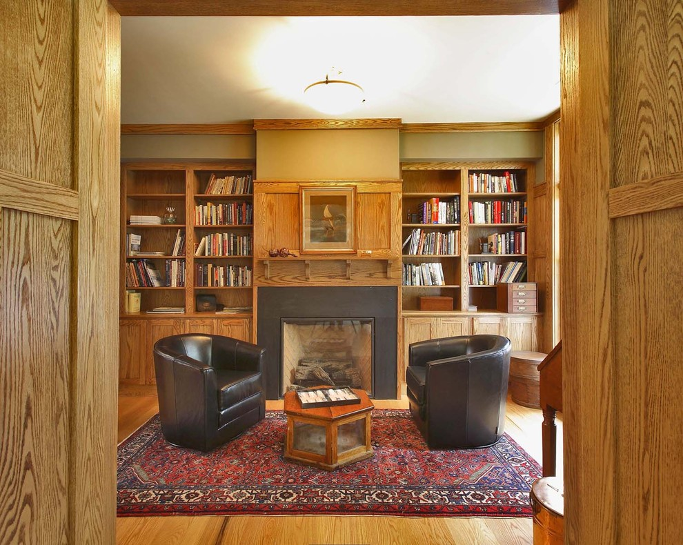 Oak Bookcase Family Room Traditional with Adaptive Reuse Additions Area Rug Bookcase Bookshelves Built Ins Ceiling Lighting Craftsman