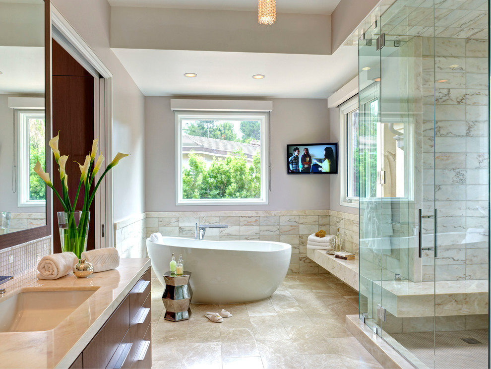 Occasional Chairs Bathroom Mediterranean with Glass Tile Marble Bathroom Mediterranean Floor Travertine Pavers Westside Tile