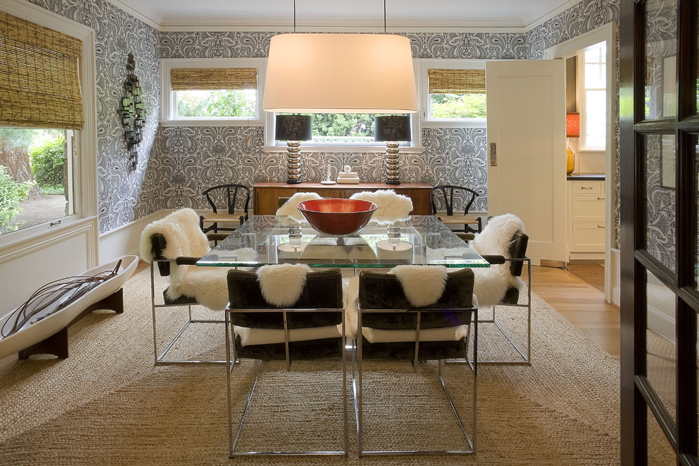 Occasional Chairs Dining Room Modern with Glass Dining Table Graphic Wallpaper Natural Rug Natural Shades Neutral Colors Pantry