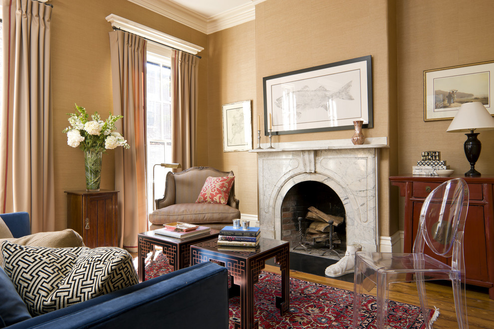 Occasional Chairs Living Room Eclectic with Area Rug Bergre Chair Chinoiserie Crown Molding Curtains Drapes Fireplace Fireplace Mantel