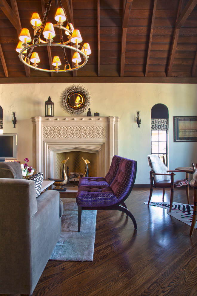 Occasional Chairs Living Room Eclectic with Cathedral Ceiling Dark Wood Ceiling Gray Area Rug Gray Sofa High Ceilings