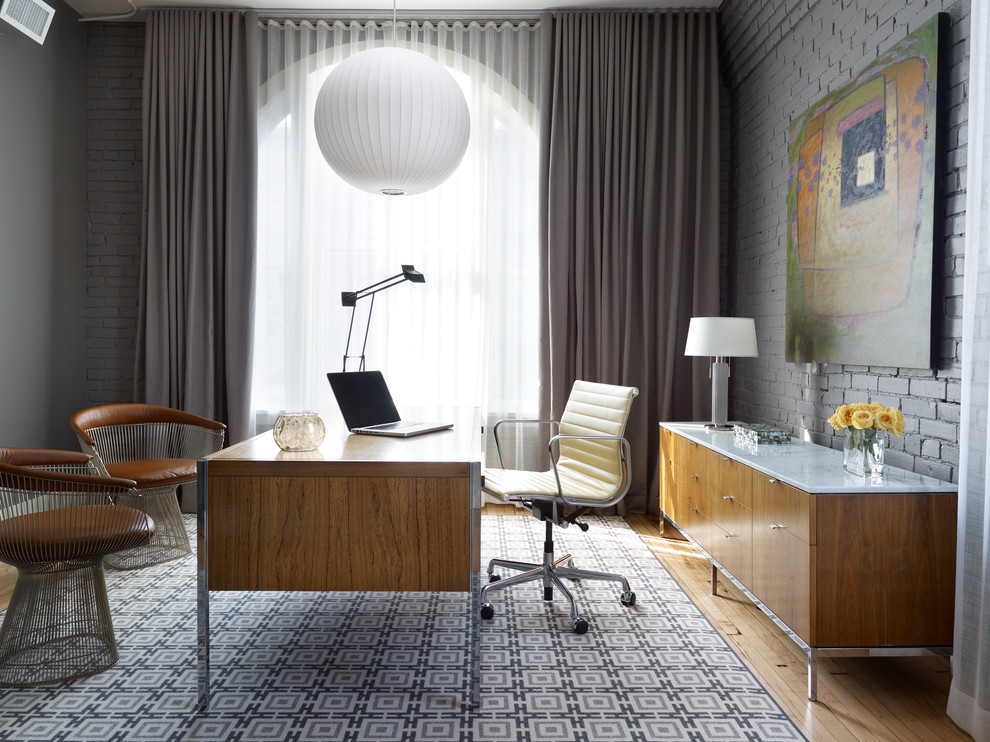Office Credenza Home Office Contemporary with Area Rug Armchairs Brick Wall Bubble Pendant Curtains Desk Painted Brick Painted