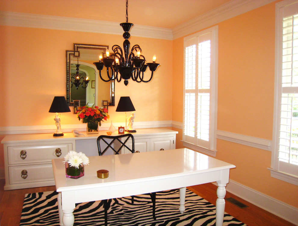 Office Credenza Home Office Transitional with Area Rug Baseboards Chandelier Closet Office Crown Molding Mirror Painted Ceiling Plantation