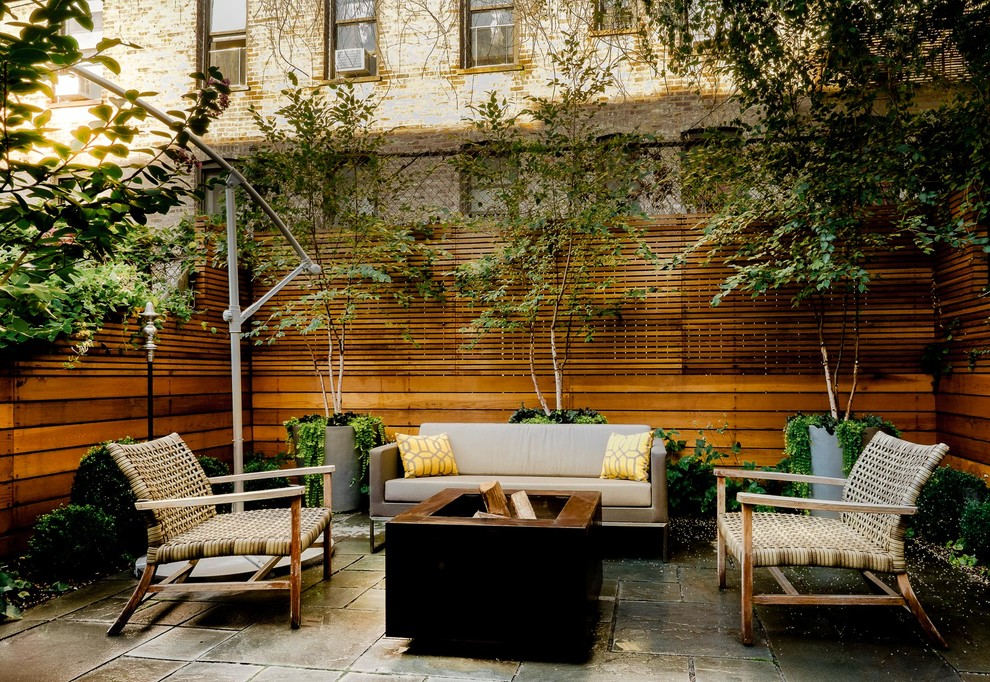 Offset Umbrella Landscape Modern with Anemone Birch Trees Bluestone Patio Boxwood Brooklyn Back Yard Brooklyn Courtyard Cedar