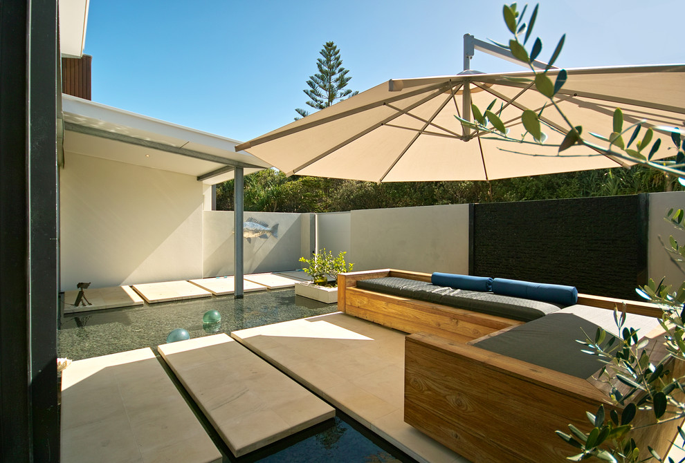 Offset Umbrella Patio Beach with Concrete Stepping Stones Covered Patio Garden Wall Outdoor Furniture Roll Pillows Seat