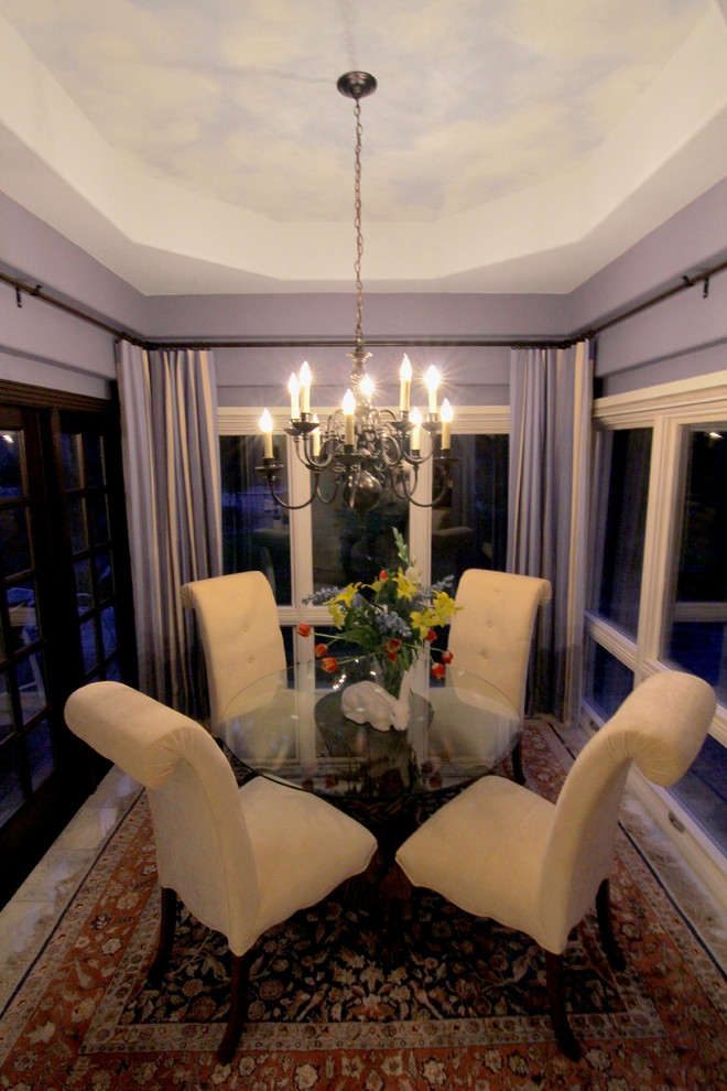 Oil Rubbed Bronze Chandelier Dining Room Traditional with Dining Room with Hand Painted Ceiling French Doors Nook with French Door
