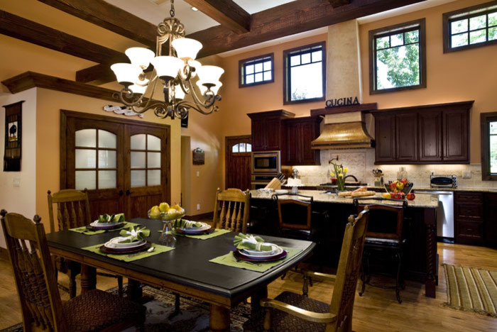Oil Rubbed Bronze Chandelier Kitchen Traditional with Barstools Built in Pantry Chandelier Cherry Cabinetry Copper Hood Copper Range Hood Country