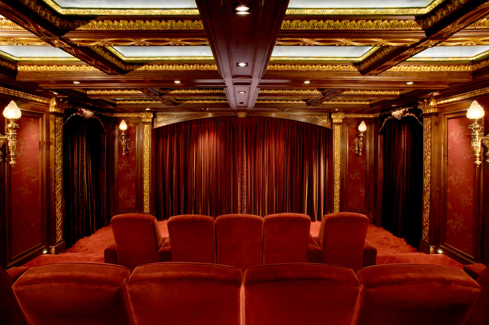 Old Fashioned Popcorn Maker Home Theater Traditional with Bronze Light Ceiling Lighting Ceiling Treatment Coffered Ceiling Cove Lighting Fabric Walls