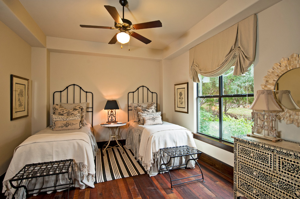 olympia luggage Bedroom Traditional with black and white black lampshade ceiling fan dark trim drapes iron bed