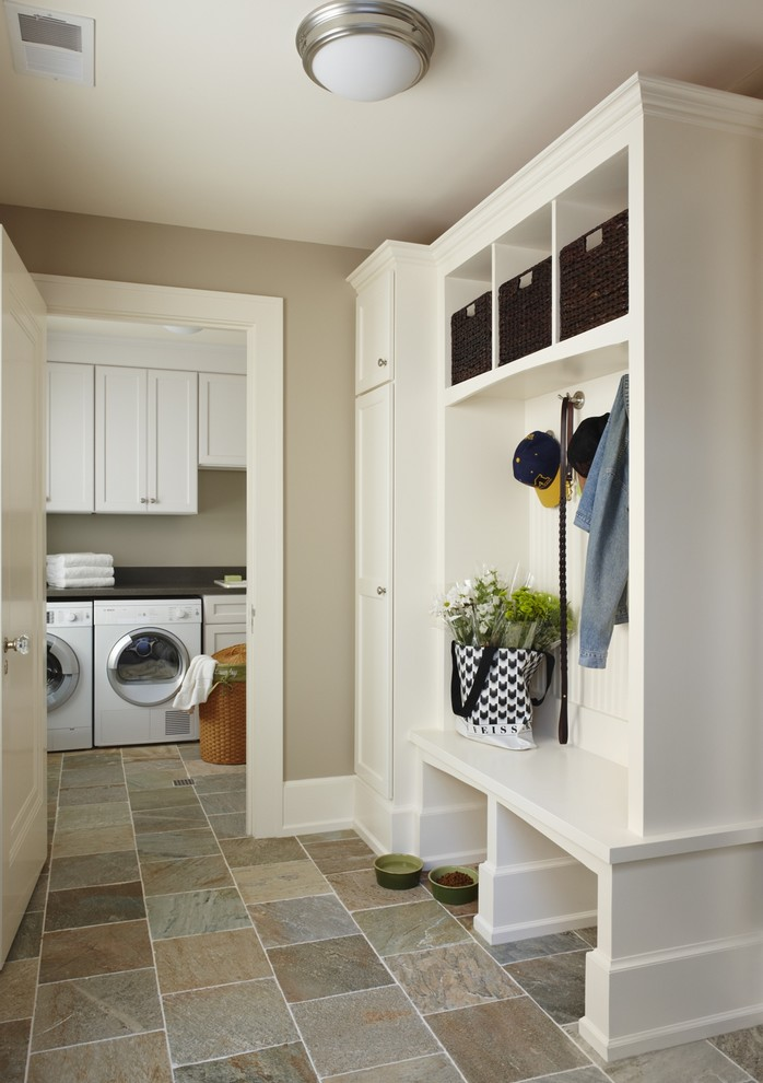 Olympia Luggage Laundry Room Traditional with Beige Walls Built in Shelves Ceiling Lighting Flush Mount Sconce Front Loading Washer And