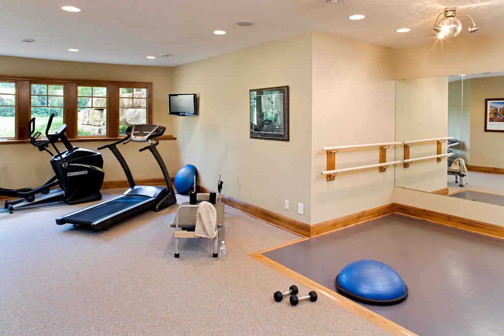 Olympic Bar Weight Home Gym Traditional with Ballet Bar Carpet Disco Ball Elliptical Fitness Room Free Weights Home Gym