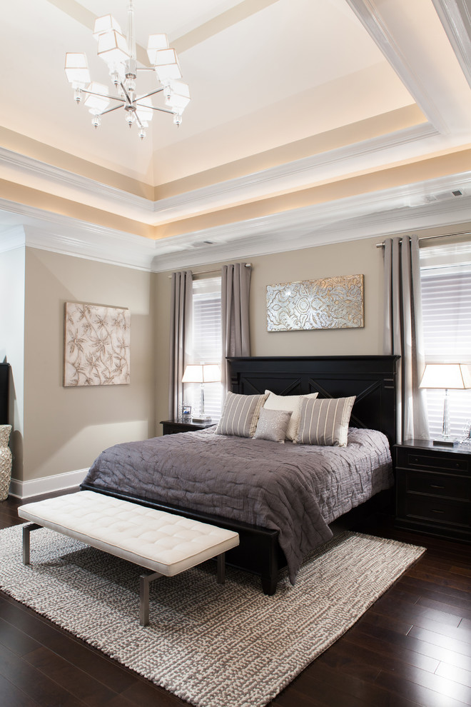 olympic queen sheets Bedroom Transitional with area rug art above bed artwork beige walls black bed frame black