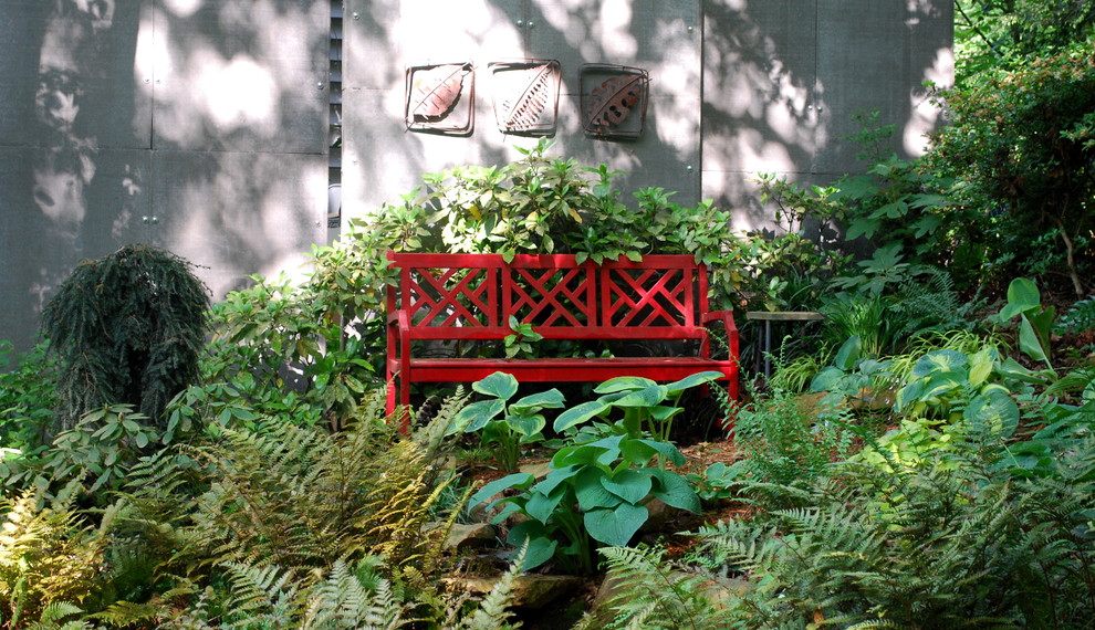 olympic weight bench Landscape Eclectic with bench bushes concrete siding concrete wall conifer ferns garden art garden bench