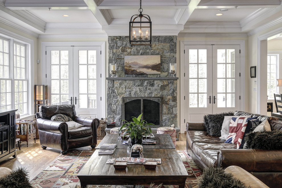 Omnia Leather Family Room Traditional with Accent Pillows Brown Leather Chair Brown Leather Sofa Ceiling Detail Chandelier Coffered1