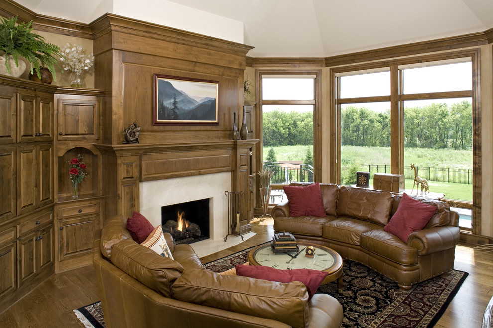 Omnia Leather Family Room Traditional with Alder Alder Cabinetry Alder Millwork Formal Formal Living Room Gas Fireplace Living