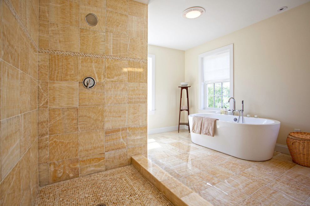 onyx tile Bathroom Contemporary with basket cream tile display shelf free standing bathtub gold tile mosaic onyx