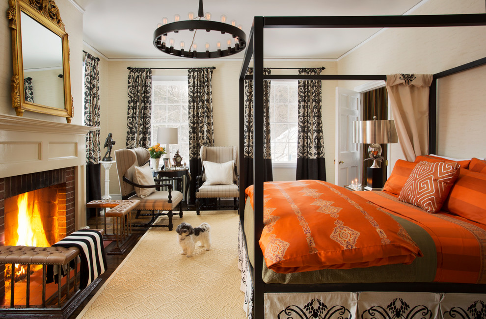 orange comforter Bedroom Contemporary with Anichini antiques black four poster bed canopy four poster bed chandelier custom