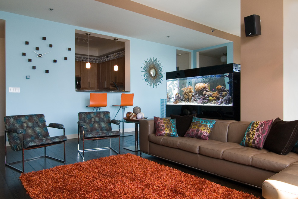 Orange Shag Rug Living Room Modern With Aquarium Beige Wall Black Throw  Pillow Blue Patterned Armchair